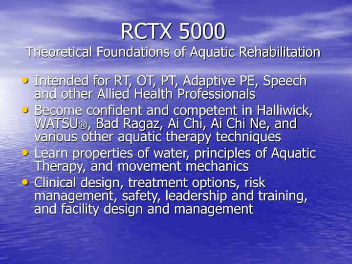 Rctx 5000 theoretical foundations of aquatic rehabilitation