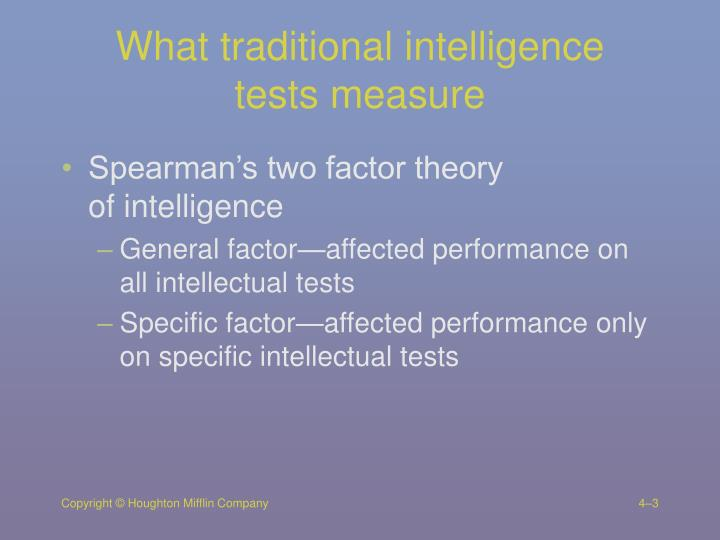 What traditional intelligence tests measure