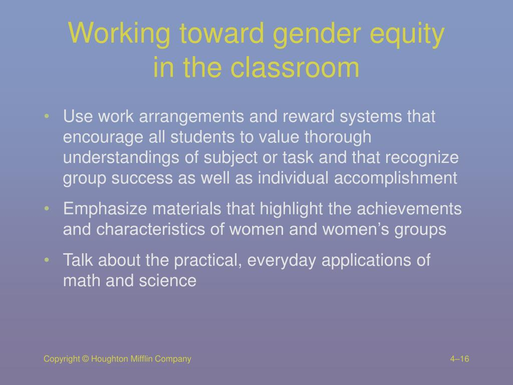 Working toward gender equity