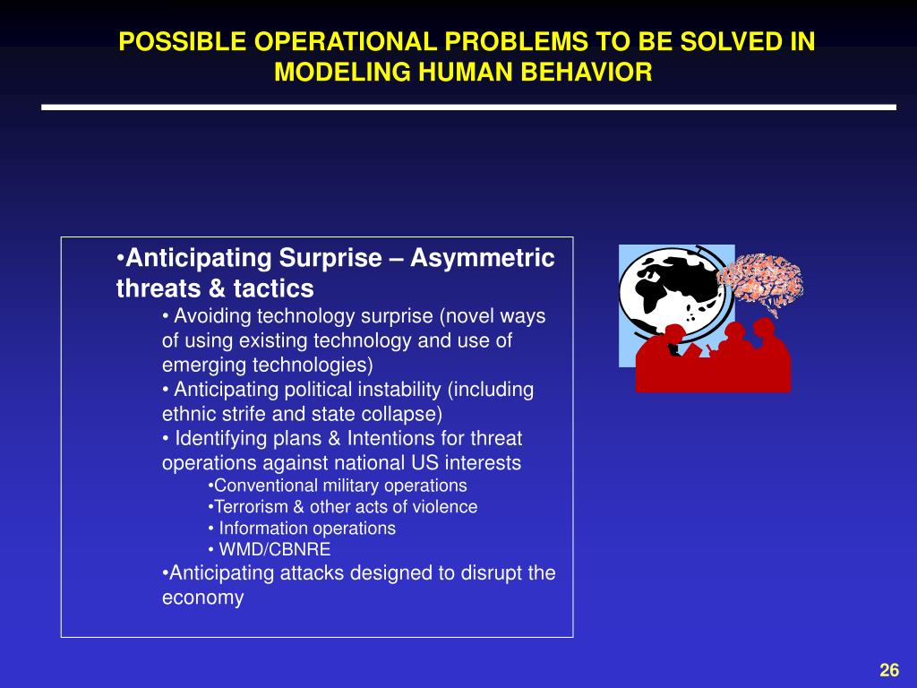 POSSIBLE OPERATIONAL PROBLEMS TO BE SOLVED IN MODELING HUMAN BEHAVIOR