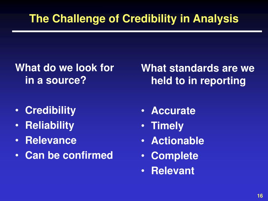 The Challenge of Credibility in Analysis