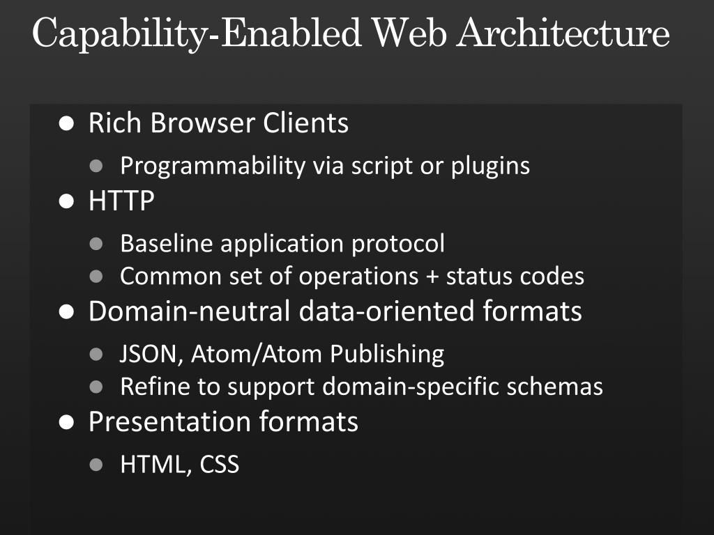 Capability-Enabled Web Architecture