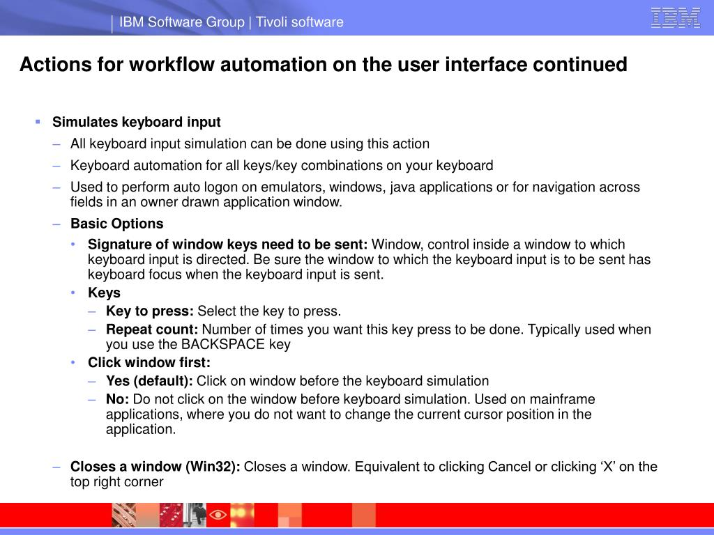 Actions for workflow automation on the user interface continued