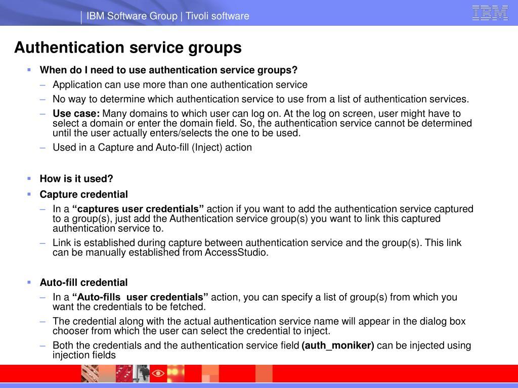 Authentication service groups
