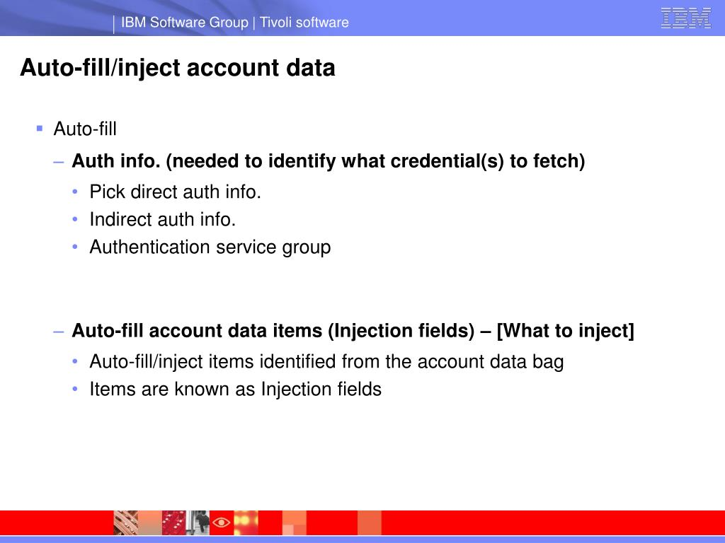 Auto-fill/inject account data