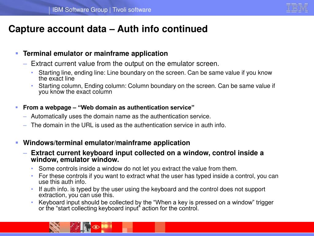 Capture account data – Auth info continued