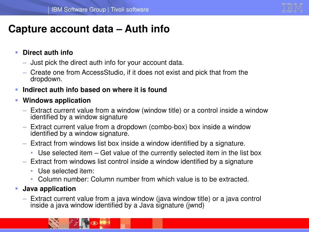 Capture account data – Auth info