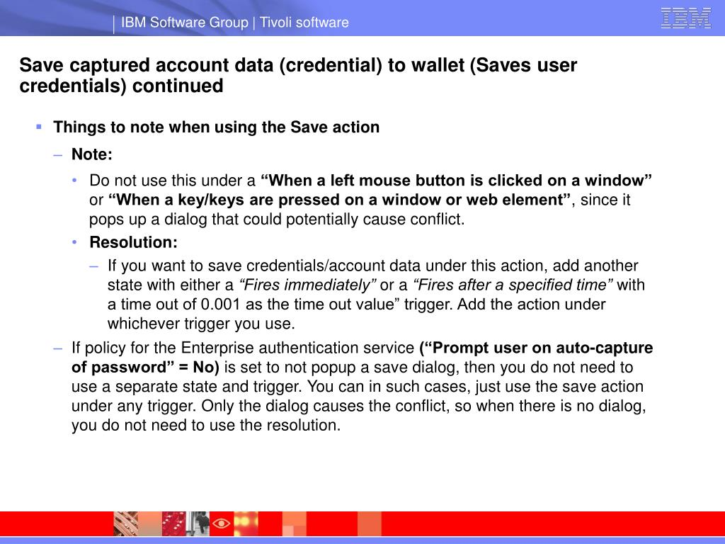Save captured account data (credential) to wallet (Saves user credentials) continued