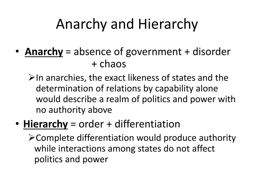 Anarchy and Hierarchy