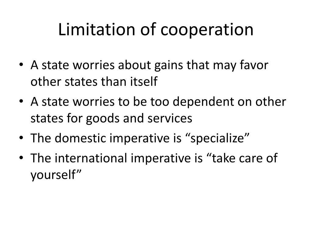 Limitation of cooperation
