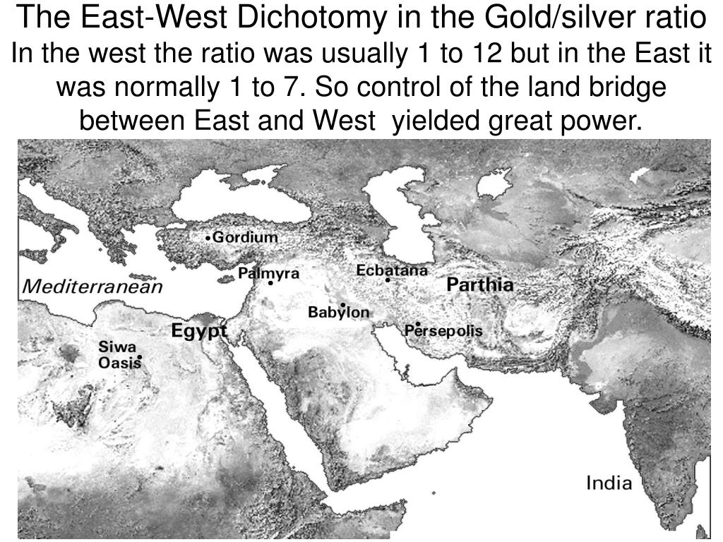 The East-West Dichotomy in the Gold/silver ratio
