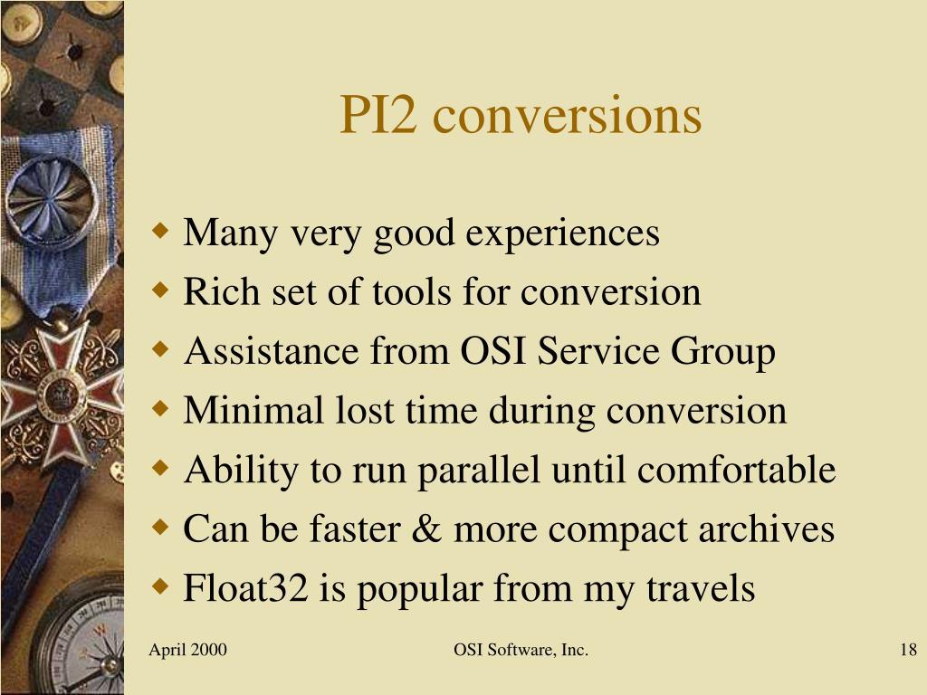 PI2 conversions