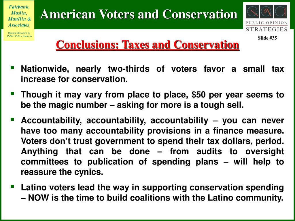 Conclusions: Taxes and Conservation