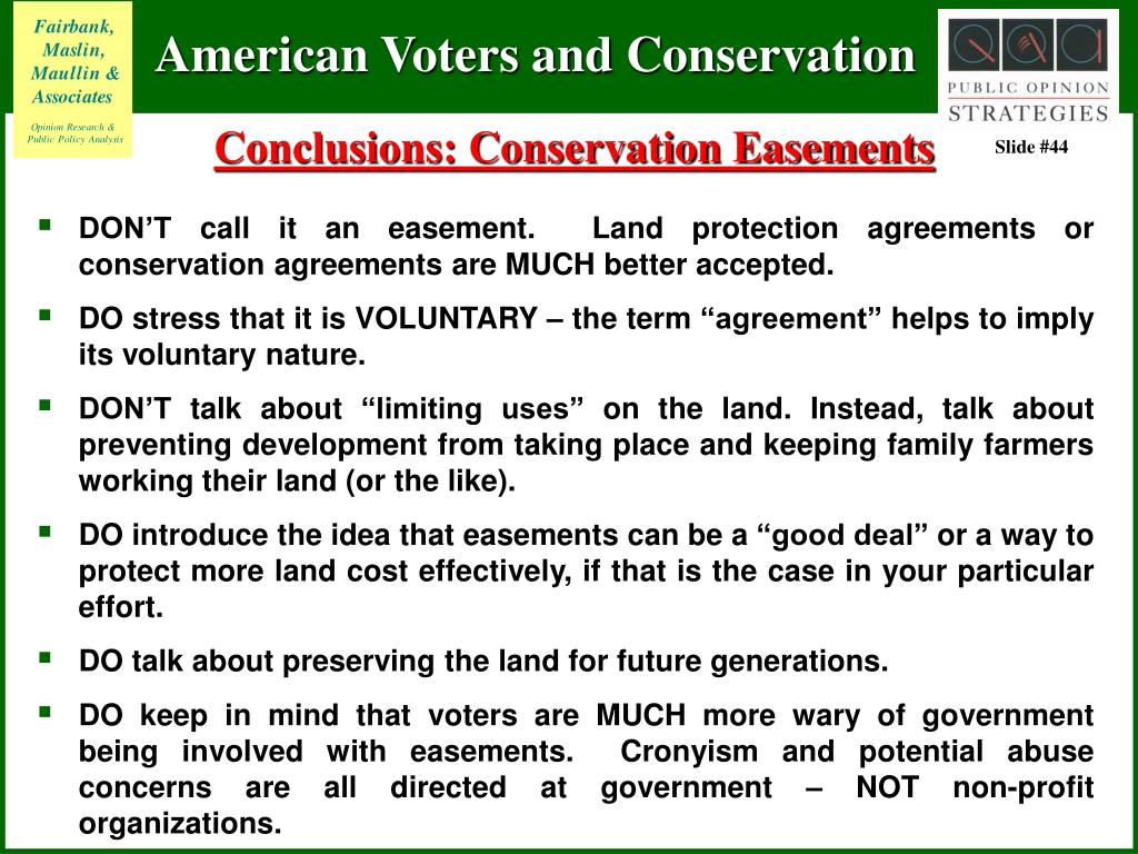Conclusions: Conservation Easements