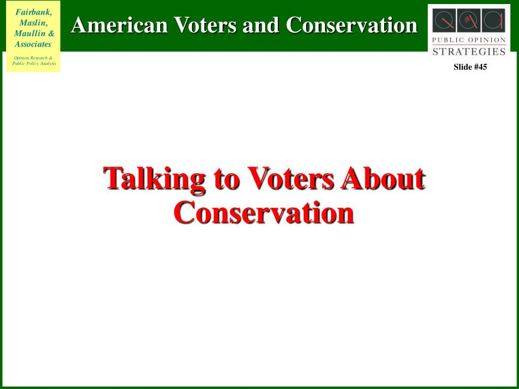 Talking to Voters About Conservation