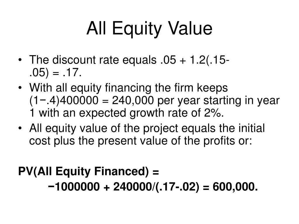 All Equity Value