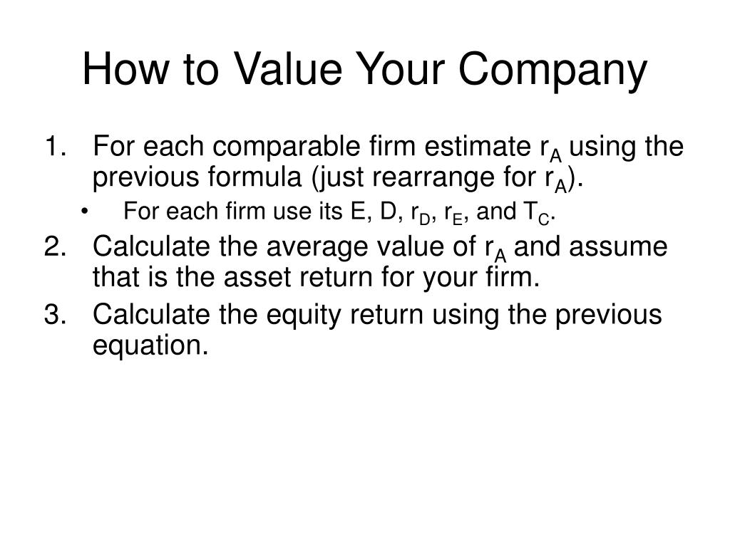 How to Value Your Company
