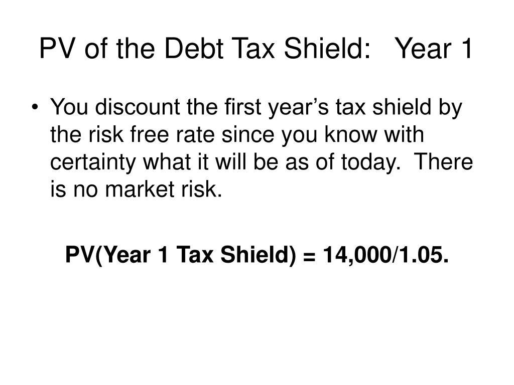 PV of the Debt Tax Shield:   Year 1