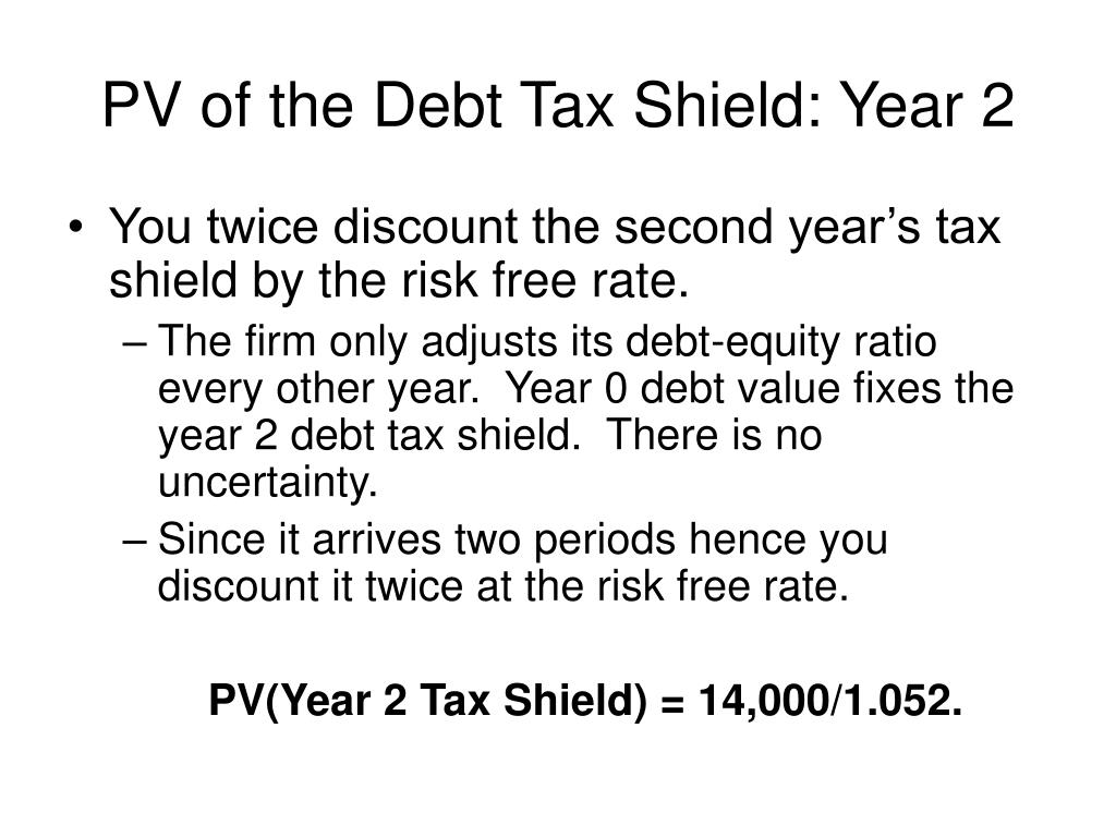 PV of the Debt Tax Shield: Year 2