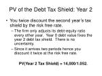 pv of the debt tax shield year 2