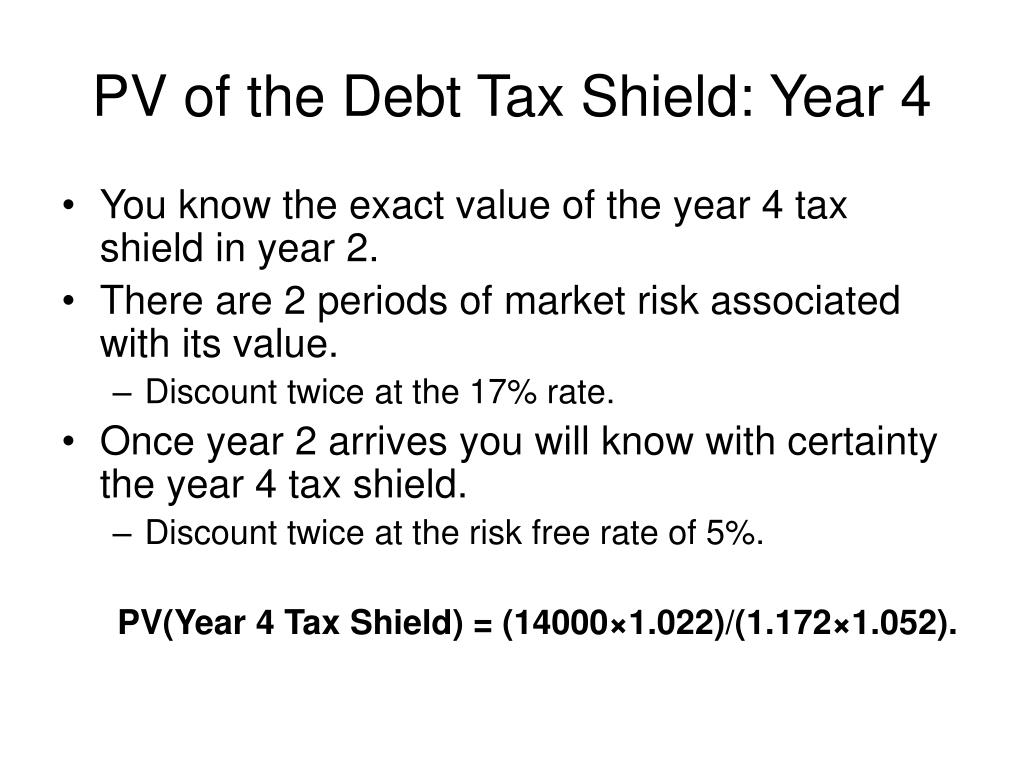 PV of the Debt Tax Shield: Year 4