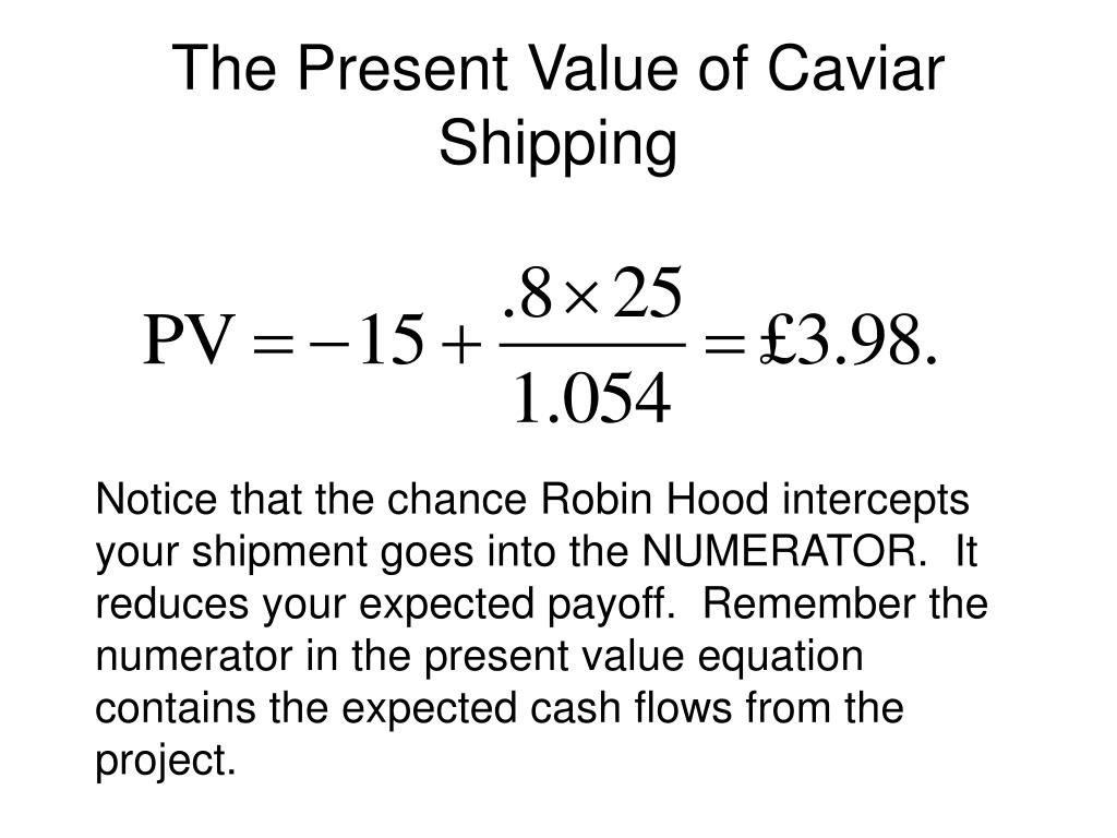 The Present Value of Caviar Shipping