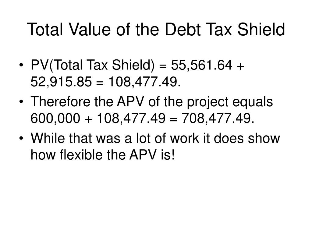 Total Value of the Debt Tax Shield