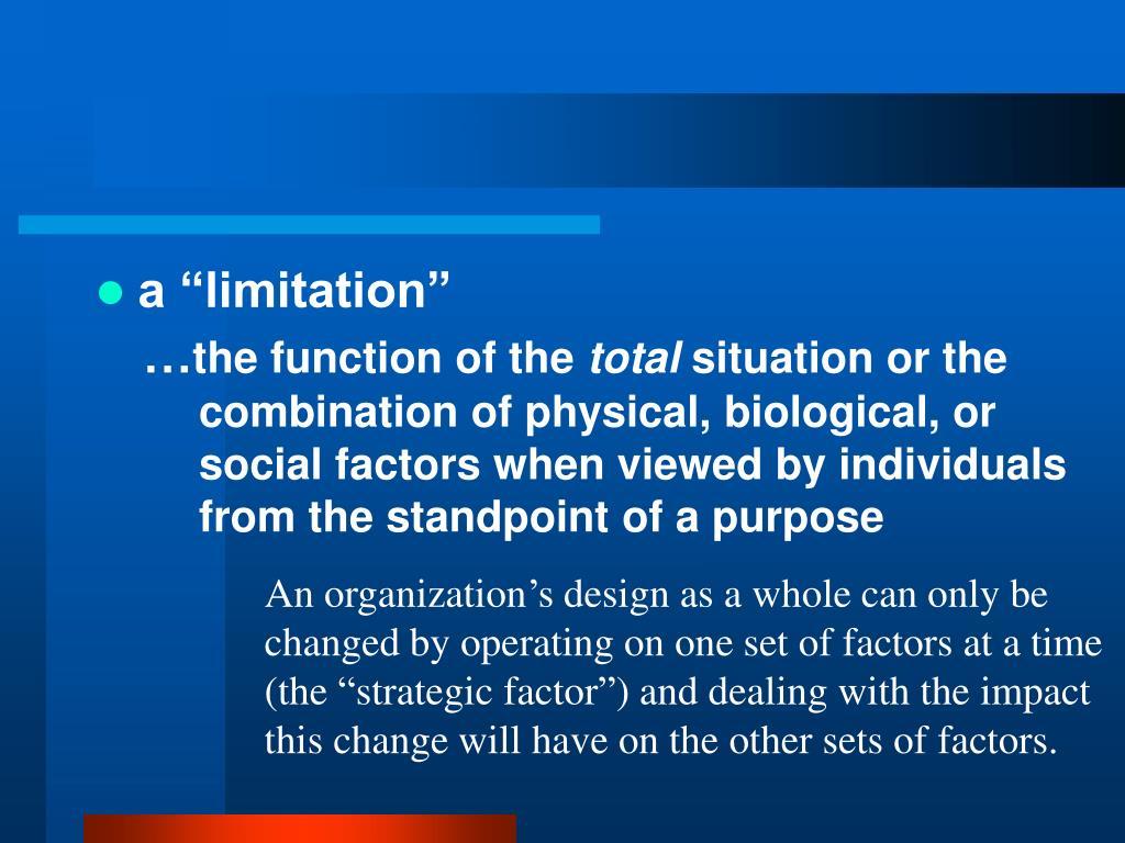 """a """"limitation"""""""