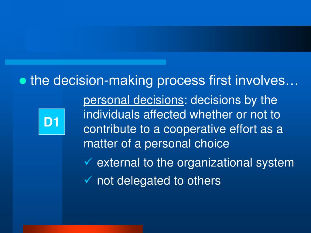 the decision-making process first involves…