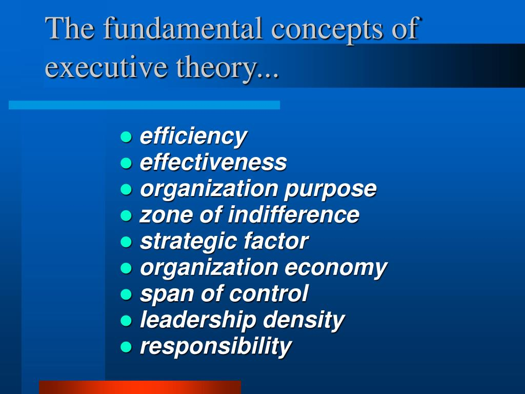 The fundamental concepts of executive theory...