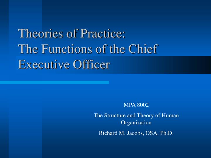 Theories of practice the functions of the chief executive officer l.jpg