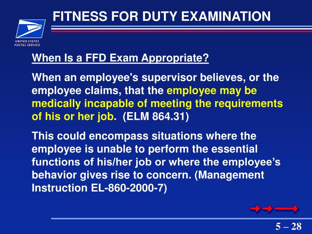 FITNESS FOR DUTY EXAMINATION