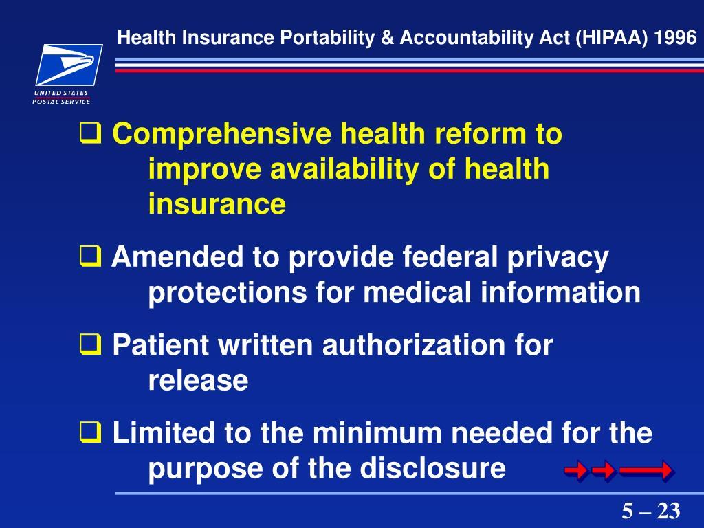 Health Insurance Portability & Accountability Act (HIPAA) 1996