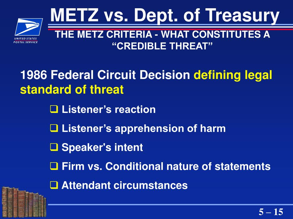 METZ vs. Dept. of Treasury