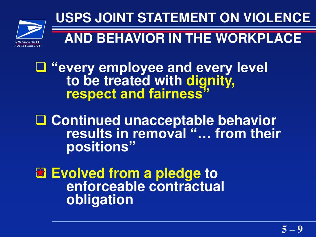 USPS JOINT STATEMENT ON VIOLENCE AND BEHAVIOR IN THE WORKPLACE