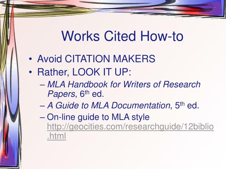 Works Cited How-to