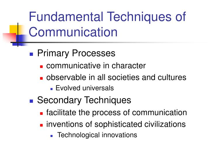 Fundamental Techniques of Communication