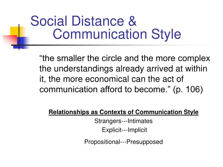 Social Distance &      	Communication Style