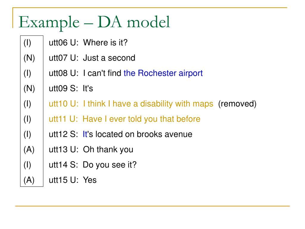 Example – DA model