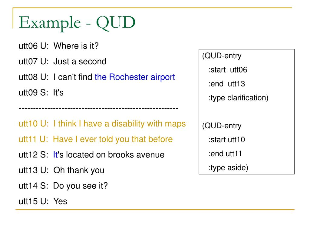 Example - QUD