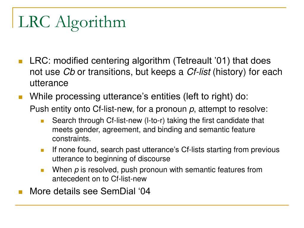 LRC Algorithm
