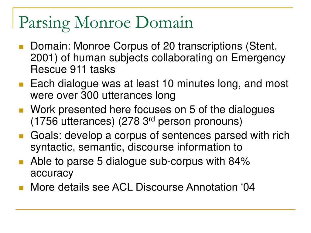 Parsing Monroe Domain