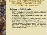 challenges faced by psychology assessment practitioners within the sandf 1