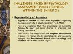 challenges faced by psychology assessment practitioners within the sandf 3