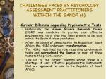challenges faced by psychology assessment practitioners within the sandf 6