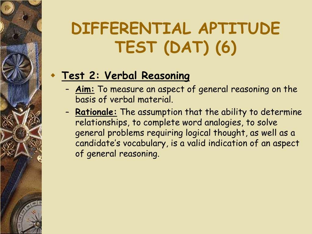 DIFFERENTIAL APTITUDE TEST (DAT) (6)
