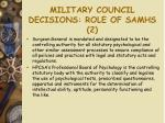 military council decisions role of samhs 2