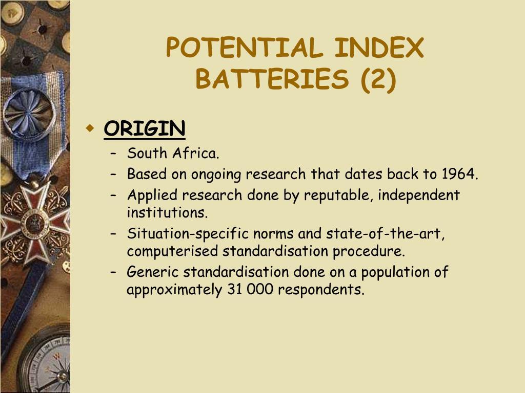 POTENTIAL INDEX BATTERIES (2)