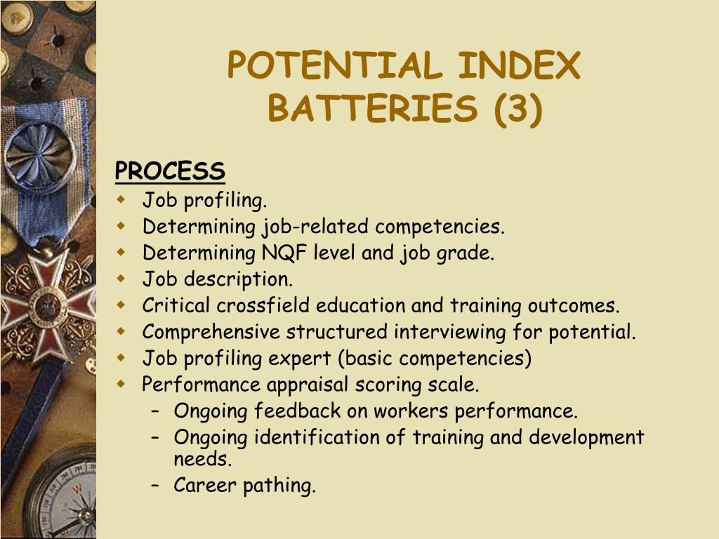POTENTIAL INDEX BATTERIES (3)