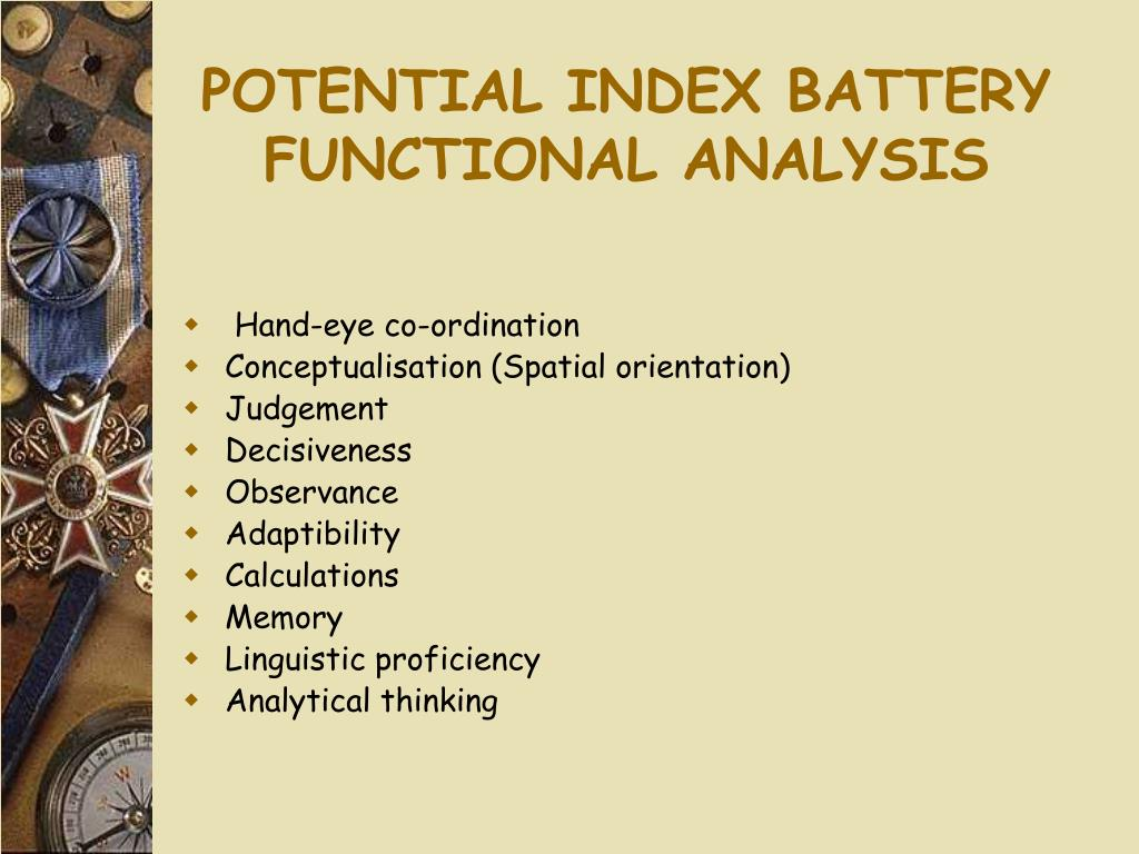 POTENTIAL INDEX BATTERY FUNCTIONAL ANALYSIS